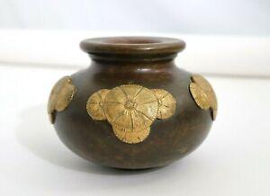 Antique Japanese Meiji Gilt Bronze Vase Jar