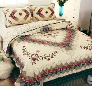 VICTORIAN TREASURES 3pc Cal King QUILT SET : VINTAGE IVORY RED FLORAL COUNTRY