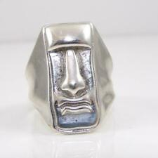 Zina Easter Island MOAI Statue Sterling Silver 3D Face Ring Size 9 LFJ4