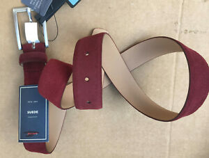 """John Lewis UNISEX  Suede Leather Belt RED WINE SIZE LARGE 97-102CM 38-40"""" RRP30"""