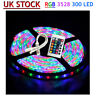 3528/5050 5M 10M SMD 300 Leds LED Strip Tape Roll RGB DC 12V Adapter Kit