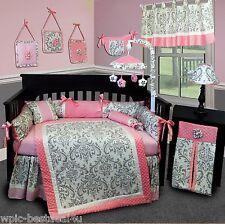 Baby Boutique - Grey Damask - 15 pcs Nursery Crib Bedding Set