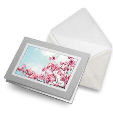 Greetings Card (Grey) - Cute Cherry Blossom Tree Flowers  #8793