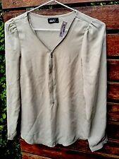 NEW Women Lady Fashion Zip Light Green Dotti Shirt Tee T-Shirt Tops AUS 6