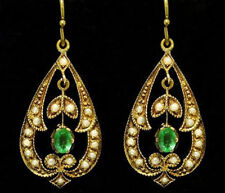 CE282 Genuine 9ct Solid Yellow GOLD Natural Emerald & PEARL Drop Earrings