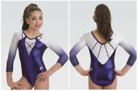 GK Elite Imperial Purple 3/4 Sleeve Gymnastics LEOTARD Child & Adult Sizes