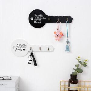 Retro Wood Key Holder Wall Key Shape Hook Storage Rack Hanger Decor Room Ha Brpf