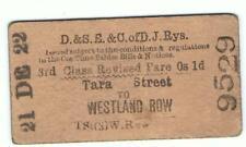 Railway Tickets Ireland,  D & E S & City of Dublin Jnt, Tara St. to Westland Row