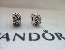Authentic Pandora Silver Pair Serpentine Swirl Clip Charm 925 ALE 790338 Retired