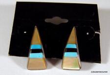 Vintage ZUNI Sterling Silver Turquoise MOP & Onyx Chanel Set Pierced Earrings