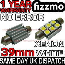 2x 39MM ERROR FREE CANBUS LED FESTOON NUMBER PLATE BULB