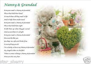 NANNY & GRANDAD GIFT (Grandparent)  A4 Laminated keepsake