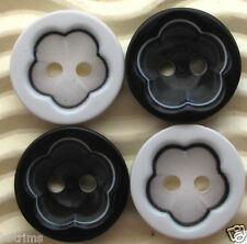 80 x Plastic Spring Flower Buttons/Black/White SB242