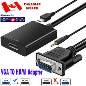 VGA To HDMI Adapter Cable Male to Female Audio Video Converter For Computer