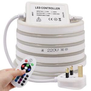 1-50m 220V 240V 2835 LED Neon Strip Light Tube Flexible Rope Waterproof+UK Plug