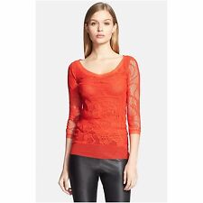 JEAN PAUL GAULTIER WOMEN'S TATTOO LACE TULLE TOP BLOUSE GERANIO RED S 4 6 SMALL