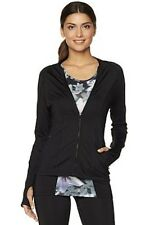 "Jessica Simpson ""The Warm-Up"" Black Raglan-Sleeve Running Jacket. Size: Medium"