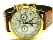 mens Longines Wittnauer calendar day date world time moonphase swiss dress watch