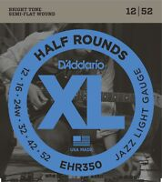 D'Addario EHR350 Half Rounds Jazz Light Electric Guitar Strings 12-52