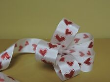 "9 YARDS OF 1 1/2"" WIDE WIRE EDGED RED HEART WHITE RIBBON"