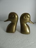Brass Duck Head Bookends Goose Mallard