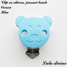 Pince / Clip en silicone, attache tétine, passant boucle, Ourson : Bleu