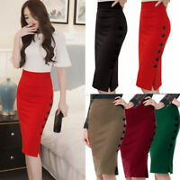 S-5XL Ladies Office Skirt Womens Bodycon Plain Pencil Stretch Midi Plus Size