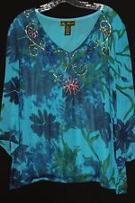Mirasol Womens Top Size X-Large Blue With Sequins 100% Rayon Lined 3/4 Sleeves