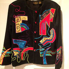 ALLURE Boutique Jacket Sz L CUSTOM Black Color Embroidered Cord Ceramic Buttons