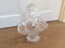 LARGE FLOWER DECORATED GLASS BASKET SHAPED VASE