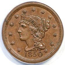 1850 N-3 ANACS AU 53 Braided Hair Large Cent Coin 1c
