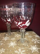 5 Blown Bubble Colorful Textured Jolly Confetti Wine Glasses Goblets Red White