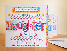Daughter birthday card personalised Daughter BIRTHDAY special birthday card.