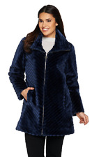 Dennis Basso Chevron Grooved Faux Fur Coat with Collar, Size S, MSRP $192