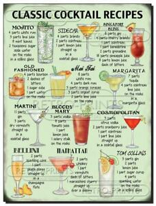 Classic Cocktail Recipes Metal Wall sign plaque for pub, bar man, lady cave NEW