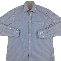 RM Williams Mens Long Sleeve Button Up Shirt Blue and White Stripe Sz M Regular