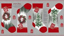 HOLIDAY TRADITIONS CHRISTMAS STOCKINGS WREATHS SNOW TREES FABRIC PANEL