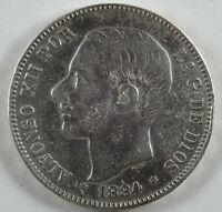 Moneda España 5 Pesetas (Duro) Plata Alfonso XII 1884 (*18 *84) MSM | Spanish
