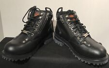 Milwaukee Leather Boots Womens Riding Ankle Zipper Black Low Boots Size: 7 NWOB