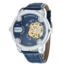 GOER Automatic Mechanical Transparent Skeleton Multiple Time Zone Wrist Watch