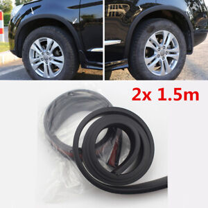"Black Rubber Car Wheel Fender Flares Strip Guard Extension 2.5""Wide Universal 2x"