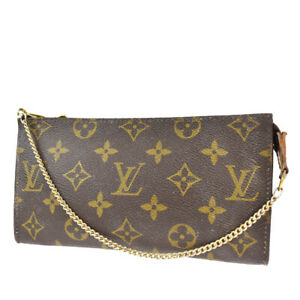 LOUIS VUITTON LV Bucket GM Chain Hand Pouch Bag Monogram Leather Brown 60BT887
