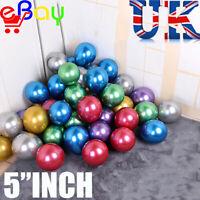 "50 Pack 5"" Inch Latex Balloons Metallic Pearl Birthday wedding Party UK"
