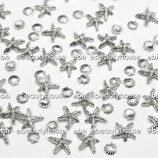20 Pcs 3D Silver Ocean Sea Star Shell Alloy Nail Art Decoration #EJ-192C
