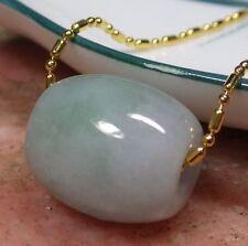 Green 100% Natural A Jade jadeite Pendant Circle Donut Bead Necklace 路路通 **