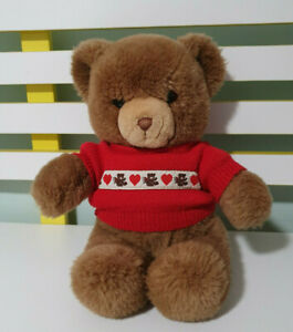 GUND TEDDY BEAR WEARING RED JUMPER WITH TEDDIES AND LOVE HEARTS 1983 33CM