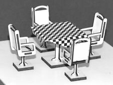1:32 Scale Table + Four Chairs (option 2) Kit - for Scalextric/Other Layouts