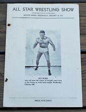 JANUARY 30, 1935 ALL STAR WRESTLING SHOW PROGRAM-BOSTON ARENA-LEO NUMA-RARE!