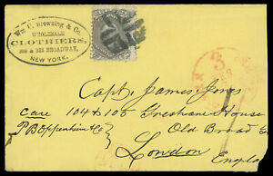 24¢ lilac #78 on New York FM fancy cancel 1863 c. cover to London, cat $425