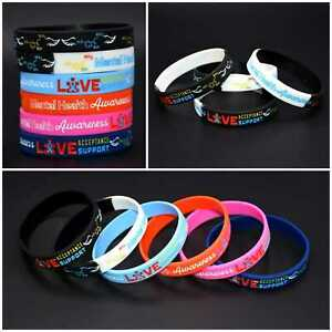 Mental Health Anxiety Acceptance Awareness Silicone Bracelet Wristband Band